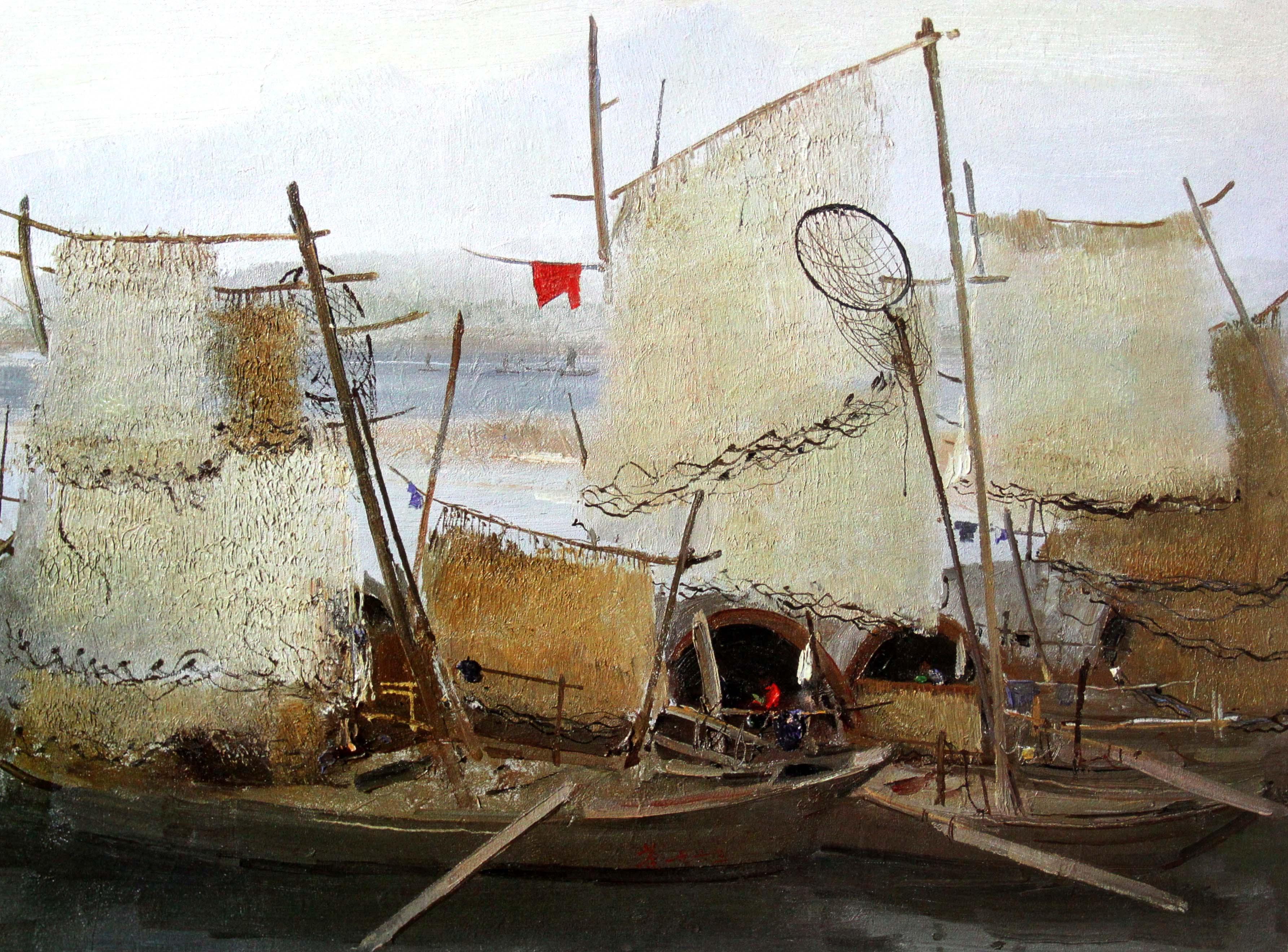 彩色渔船手绘图片
