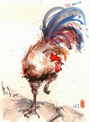 水彩大公鸡
