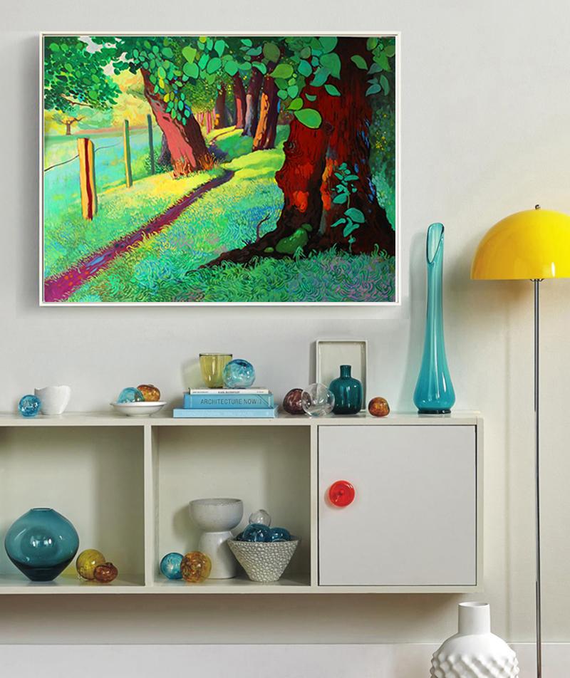 大树手绘图片书架